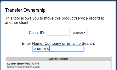 Transferring Account Ownership