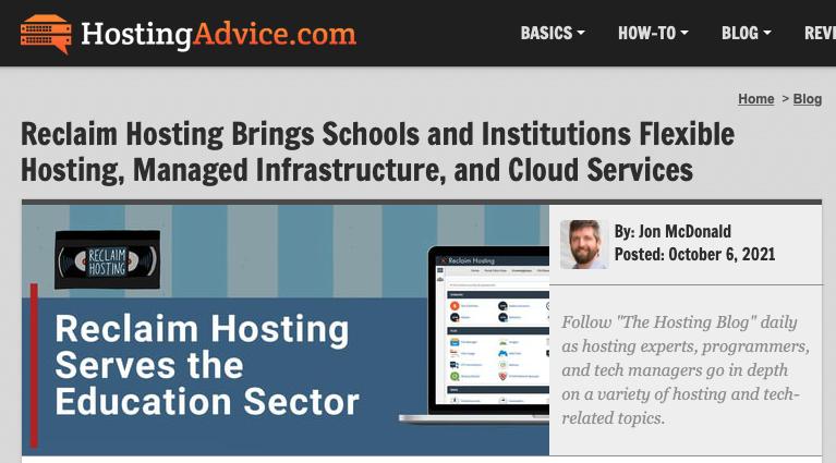Reclaim Hosting featured on Hosting Advice